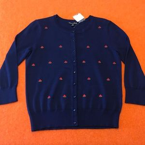 Cable & Gauge navy blue 'melon' cardigan NWT